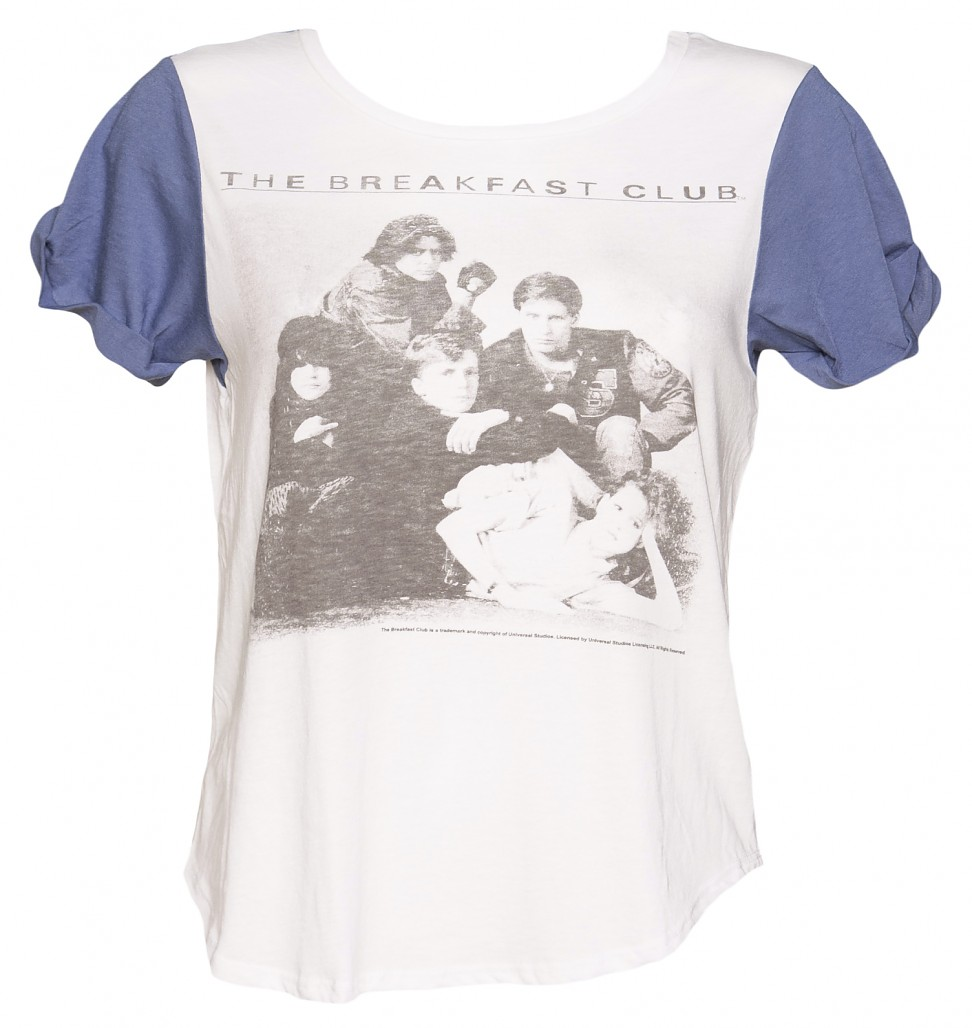 Ladies White and Blue The Breakfast Club Slouchy Colour Block T-Shirt from Junk Food