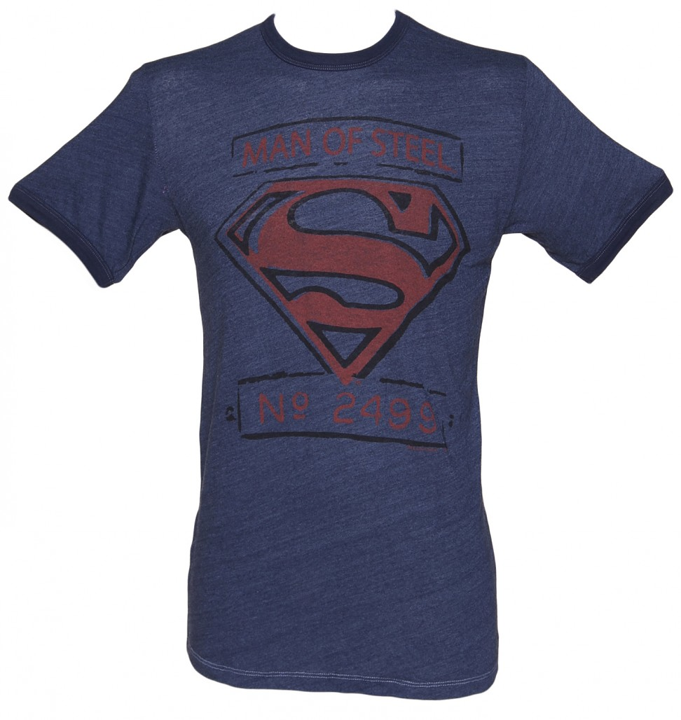 Men's Blue Triblend Man Of Steel Superman Ringer T-Shirt from Junk Food
