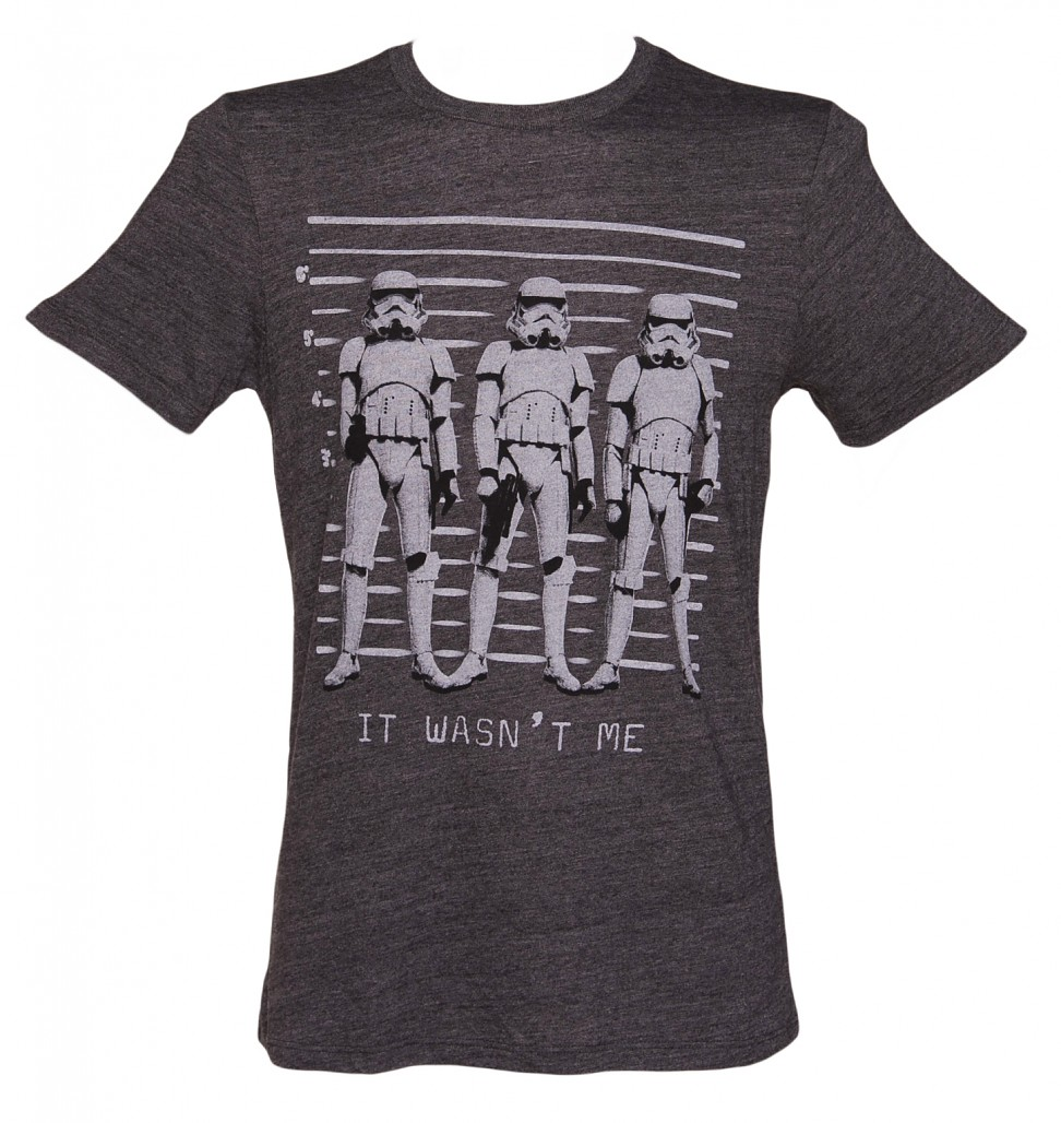 Men's Charcoal It Wasn't Me Stormtrooper Line Up Star Wars T-Shirt from Junk Food