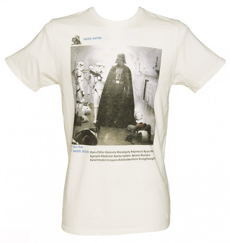 Men's Sugar White Instagram Darth Vader Star Wars T-Shirt from Junk Food