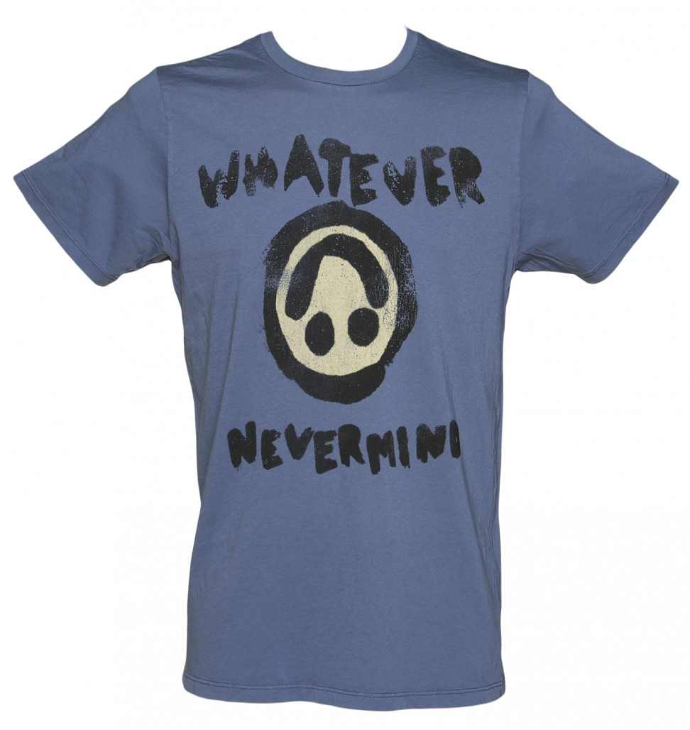 Men's Washed Blue 90's Grunge Whatever Nevermind T-Shirt from Junk Food